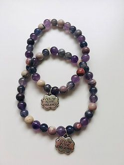 Follow Your Dreams Crystal Bracelet Set- Amethyst, Royal Plume Jasper, Iolite