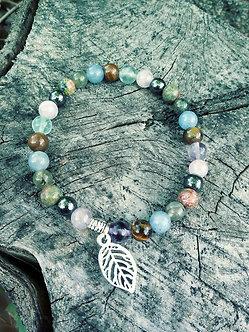 Leaf Healing Crystal Bracelet with Fluorite, Tiger's Eye, Blue Aventurine, Labradorite, Unakite, Hematite and Amethyst