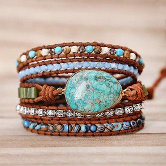 Combo Natural Stone Healing Crystal Wrap Bracelet