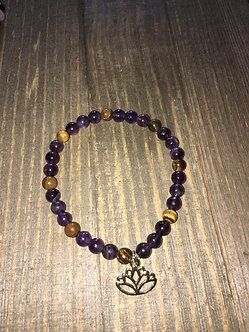 Amethyst w/Tiger's Eye Crystal Bracelet