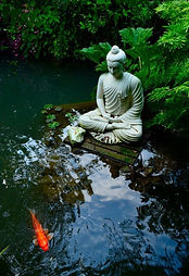 Buddah statue and pond, meditation