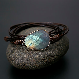 Mystical Labradorite Wrap Bracelet Boho Style