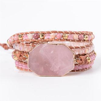 Handmade Wrap Rose Quartz Bracelet Boho Style