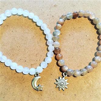 Sun & Moon Love Crystal Bracelet Set