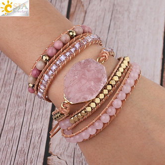 Rose Quartz Leather Wrap Bracelet Handmade