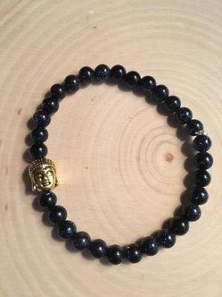 Blue Goldstone w/Buddah Crystal Bracelet