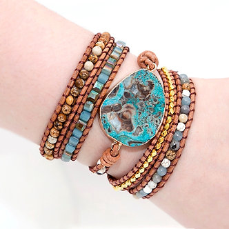 Mixed Natural Stone Handmade Leather Wrap Boho Bracelet