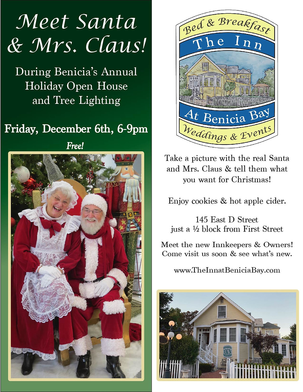 Meet Santa and Mrs. Claus in Benicia December 6