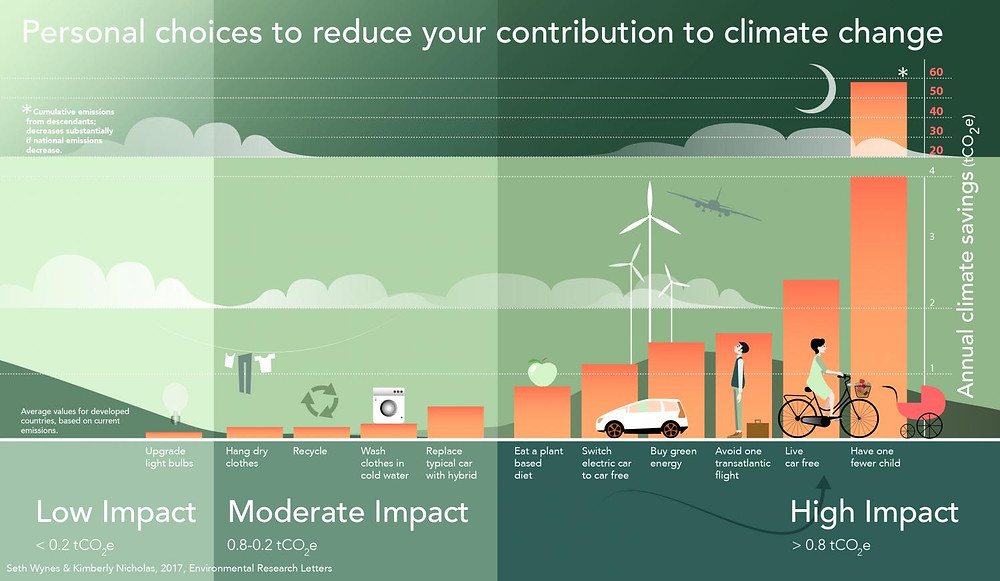 An infographic showing low, moderate, and high impact personal choices on climate