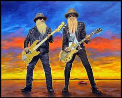 ZZ Top ( Dusty Hill & Billy Gibbons ) ( 2016 - 30 x 24 Oil On Linen Canvas )
