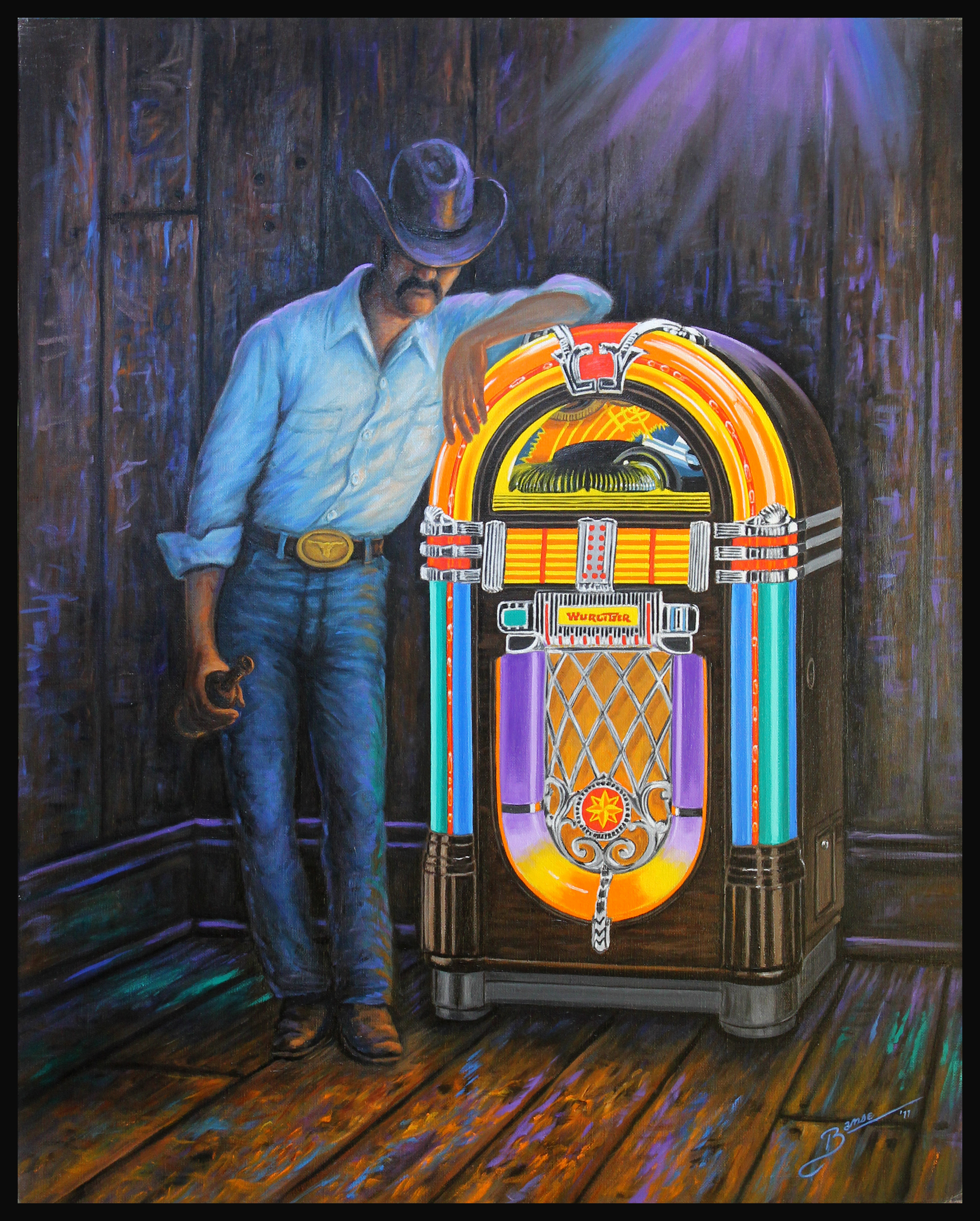 Jukebox Cowboy ( 2011 - 24 x 30 Oil On Linen Canvas )