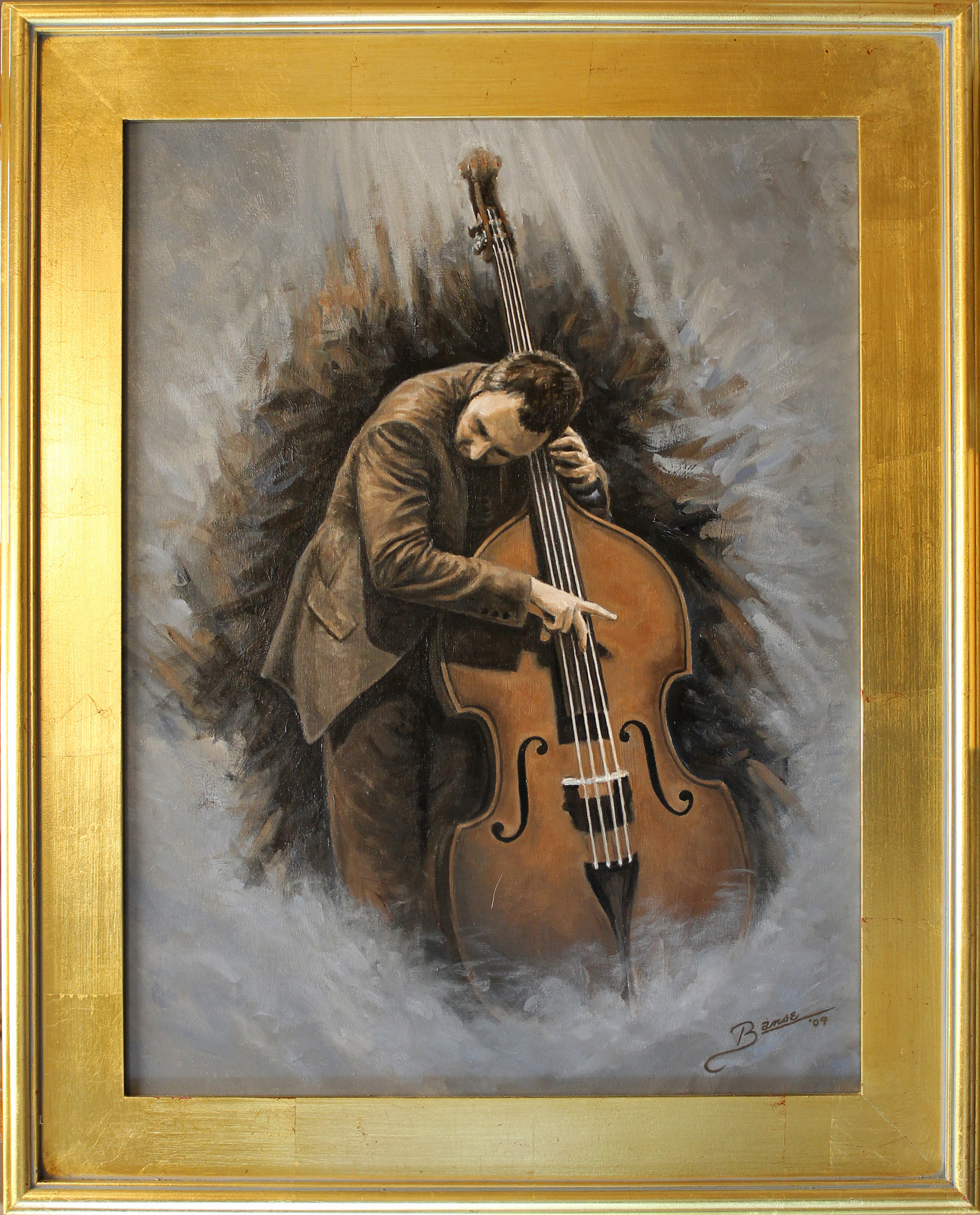 Bass Player In Brown ( 2009 - 18 x 24 Oil On Canvas )