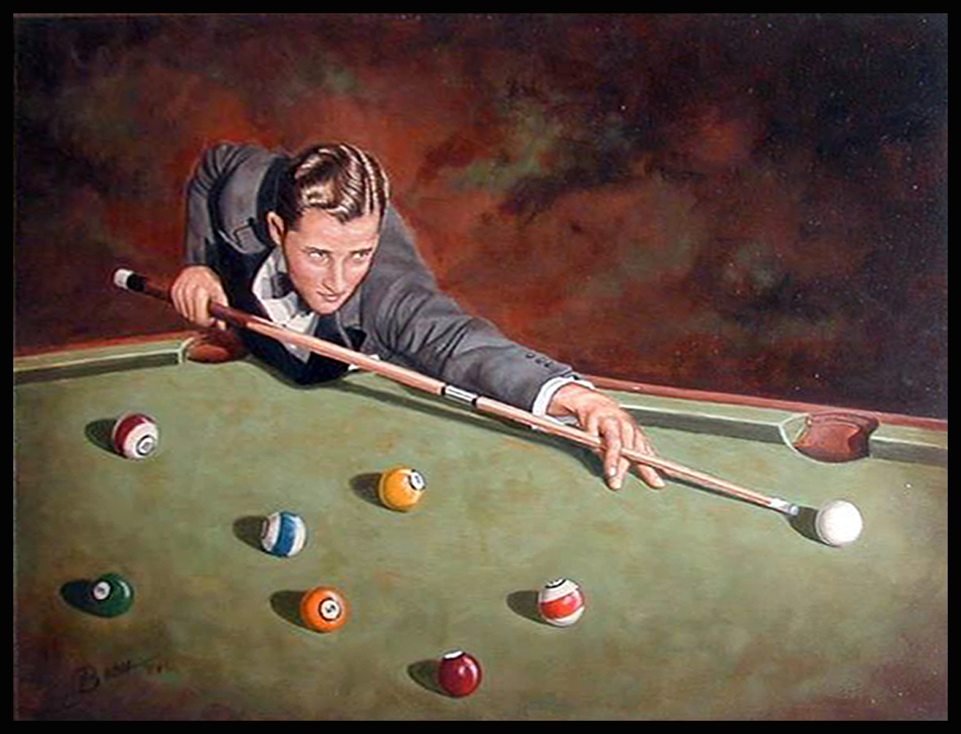 Willie Mosconi ( 1980's 11 x 14 Oil On Board )