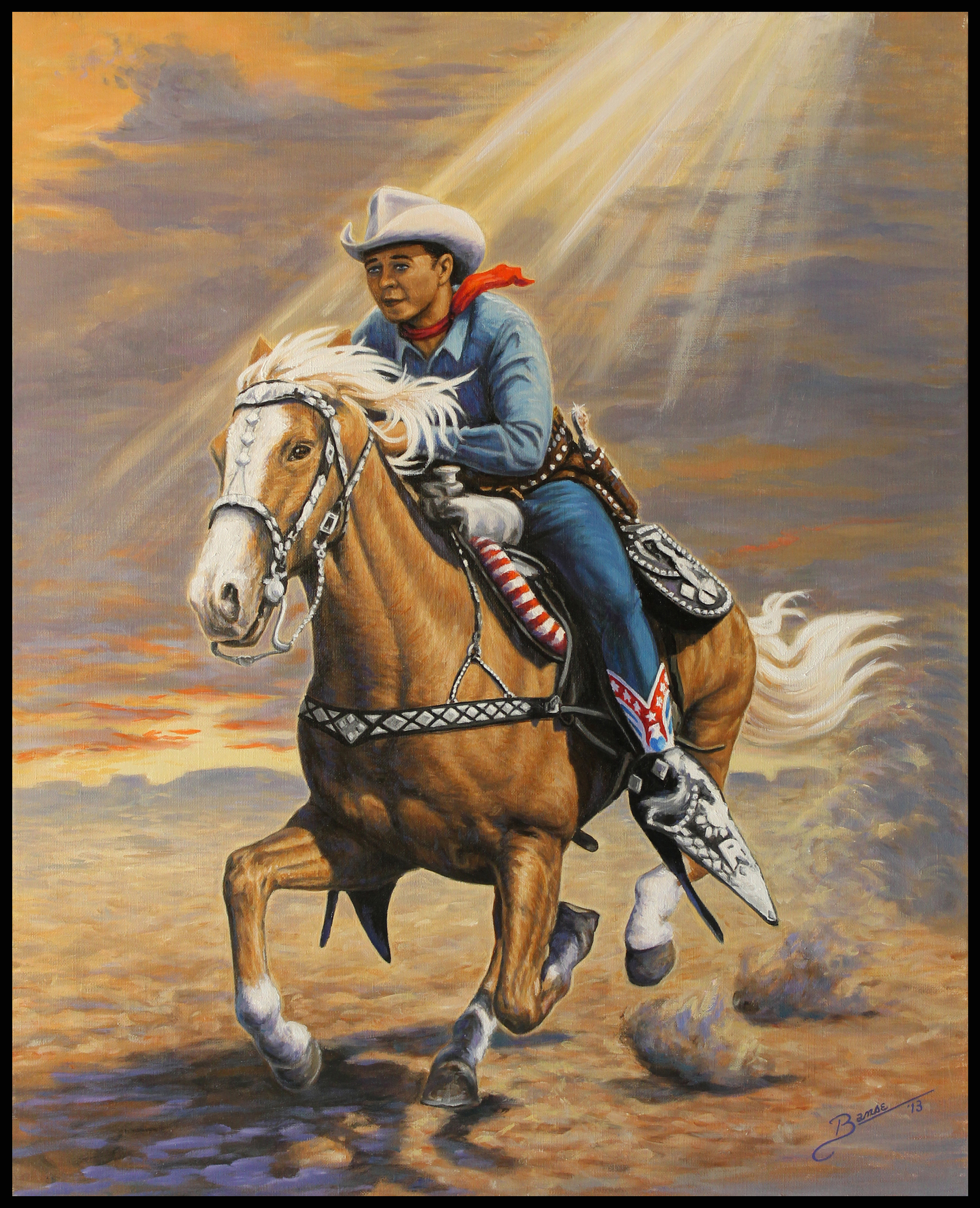 Roy Rogers & Trigger ( 2013 -  24 x 30 Oil On Linen Canvas )