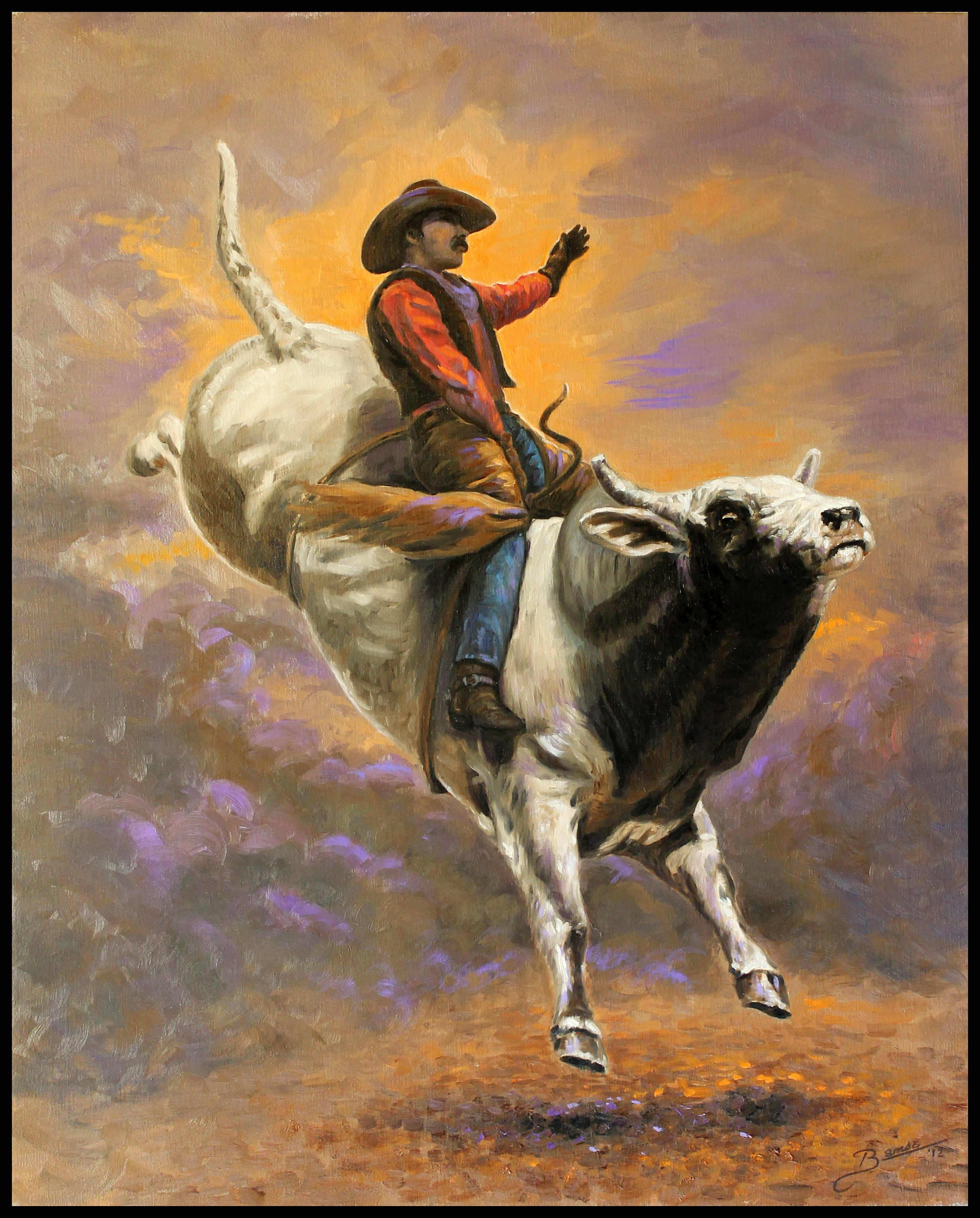Bull Rider ( 2012 - 24 x 30 Oil On Canvas )