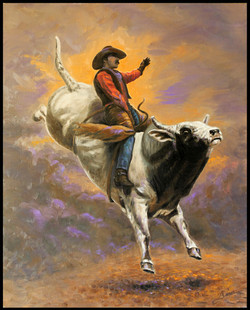 Bull Rider ( 2012 - 24 x 30 Oil On Canvas )