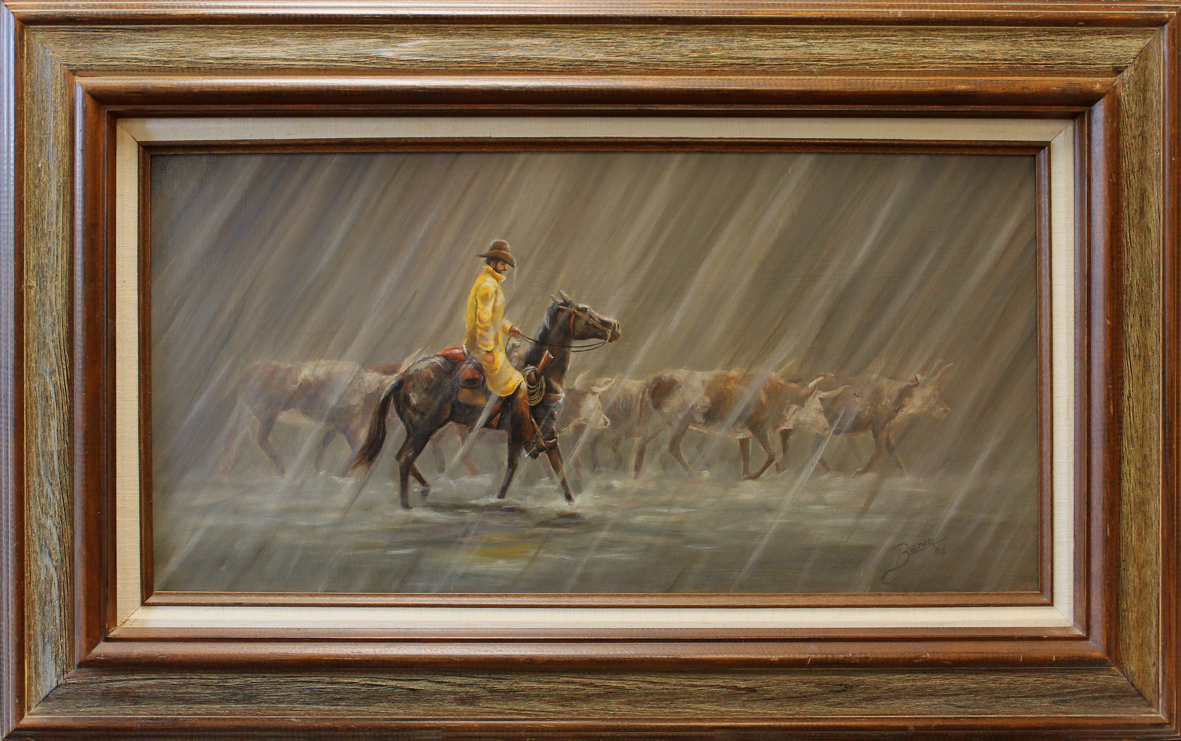Rider In The Rain ( 1982 - 24 x 12 Oil On Board )