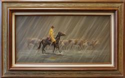 Rider In The Rain ( 1982 - 24 x 12 Oil On Board )