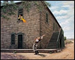 Hello Bob ( Billy The Kid Shooting Deputy Bob Olinger April 28. 1881 ) ( 2015 - 24 x 30 Oil On Linen