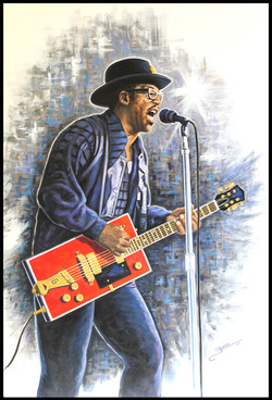 Bo Diddley ( 2015 - 24 x 36 Oil On Linen Canvas )