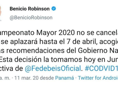 CAMPEONATO DE BÉISBOL MAYOR FUE POSPUESTO HASTA EL 7 DE ABRIL