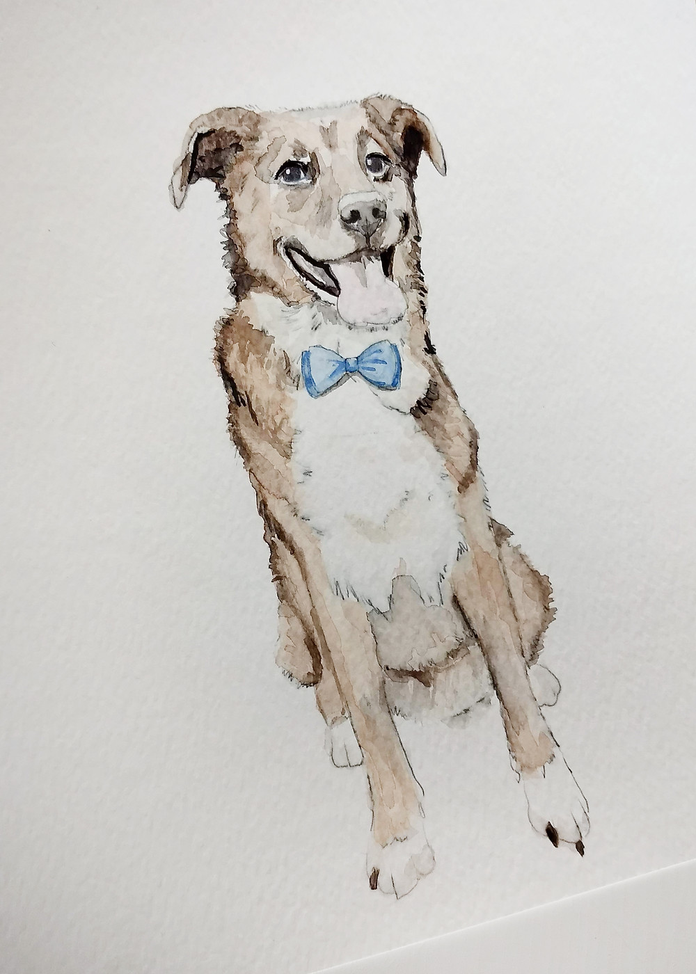 Custom, hand-painted watercolor art of dog by Paper Daisies Designer