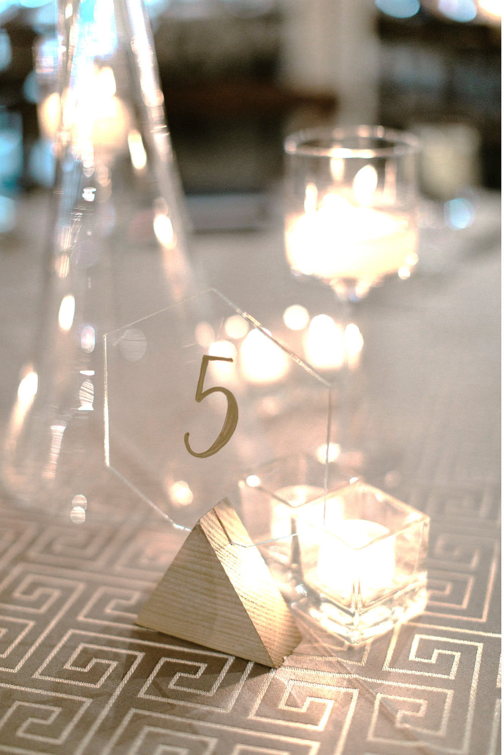 What a beautiful way to compliment your wedding decor with these acrylic and gold table numbers!