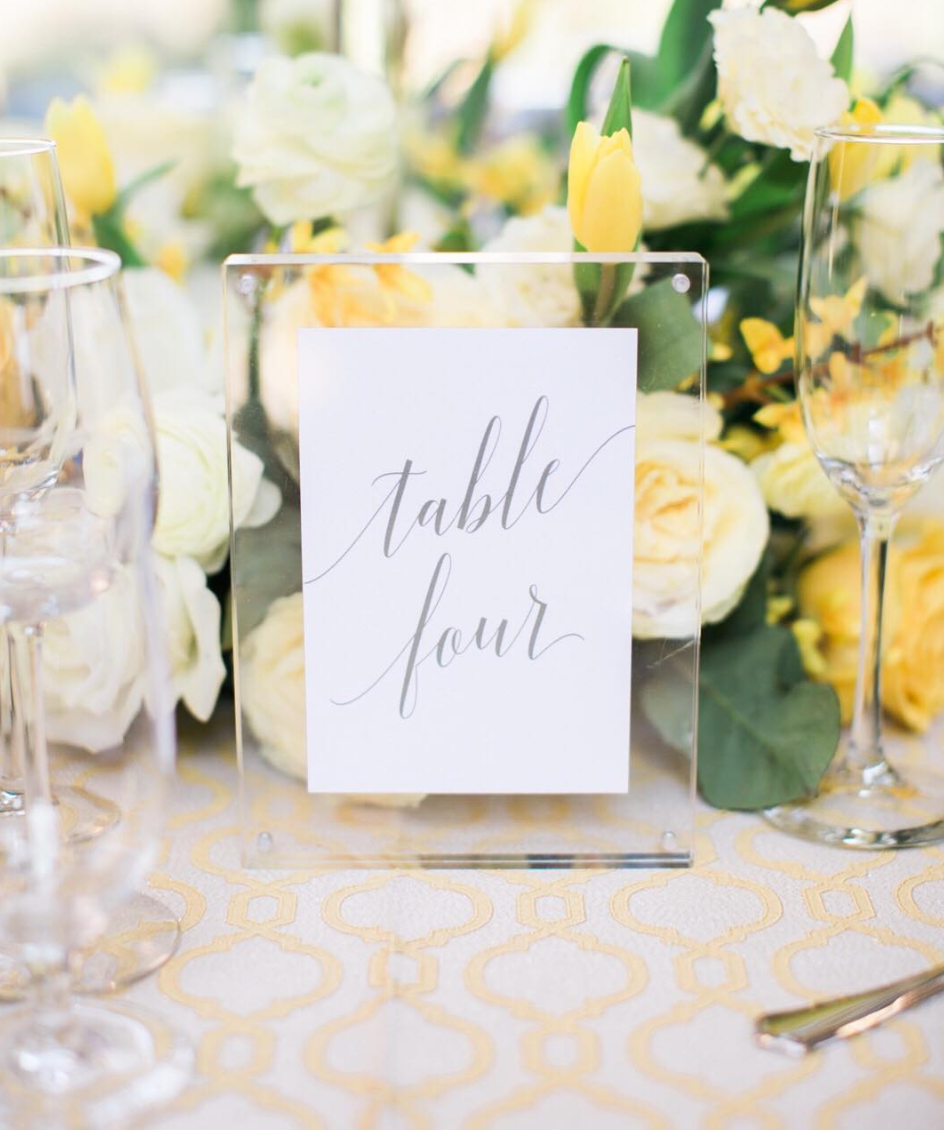 Rent a Paper Daisies acrylic frame for your wedding reception table numbers to add the finishing touch!