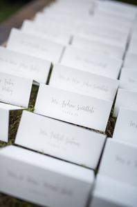 Tented escort cards are a beautiful way to direct your guests to their tables at your wedding reception.