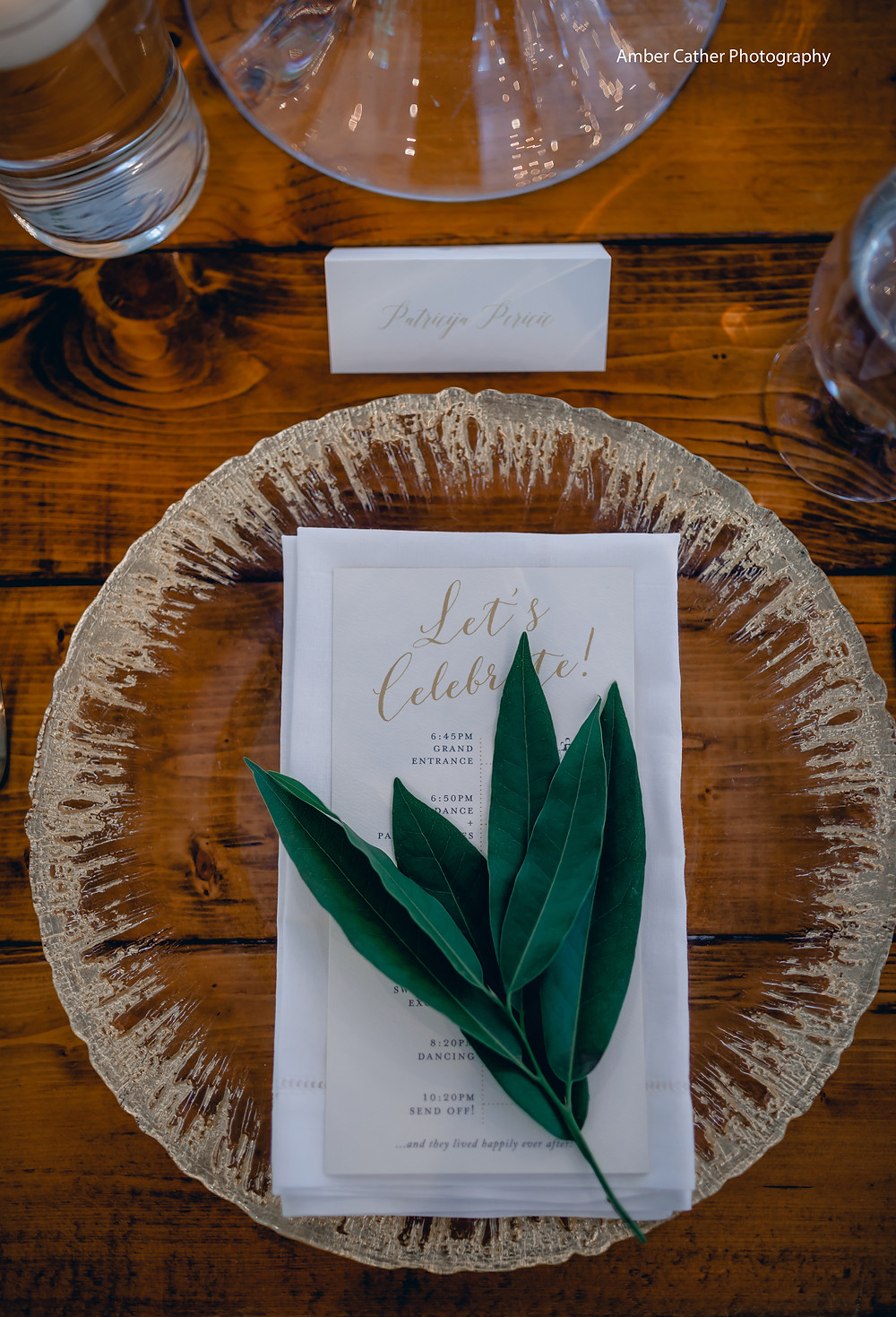 You can use your place setting to display your itineraries on your tablescape for your rehearsal dinner