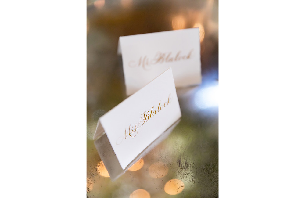 Hand drawn calligraphy is a perfect way to tie your wedding stationery into your reception decor!
