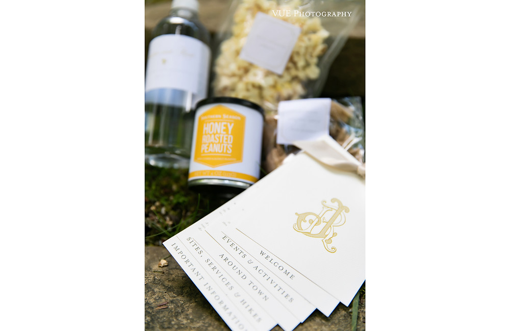 Itineraries, water bottles, and snacks for your wedding guests!