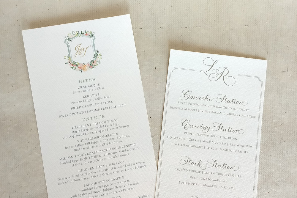 beautiful menu with monogram and floral crest and hand calligraphy