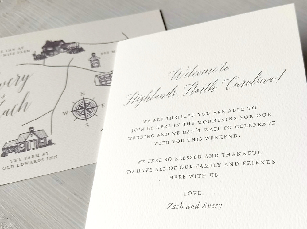 Add a sweet note to thank your wedding guests for traveling