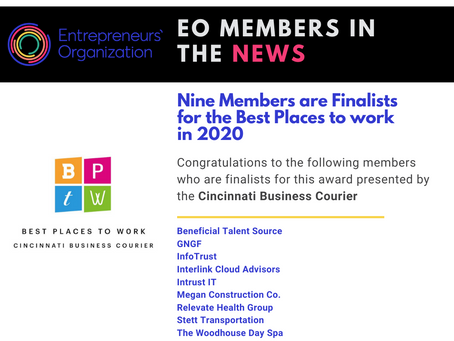 Nine members of EO are finalists for the Best Places to Work in 2020