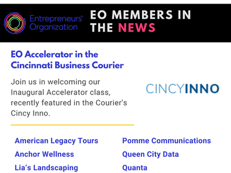 EO Accelerator in the Cincinnati Business Courier Featuring the Inaugural Accelerator Class
