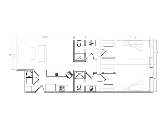 Unit 202: Two Bedroom/Two Bathroom