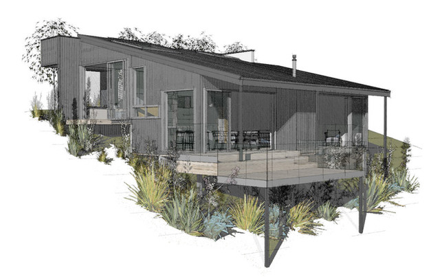 Architectural concept design for Kaikoura bach by Barry Connor, Christchurch architect