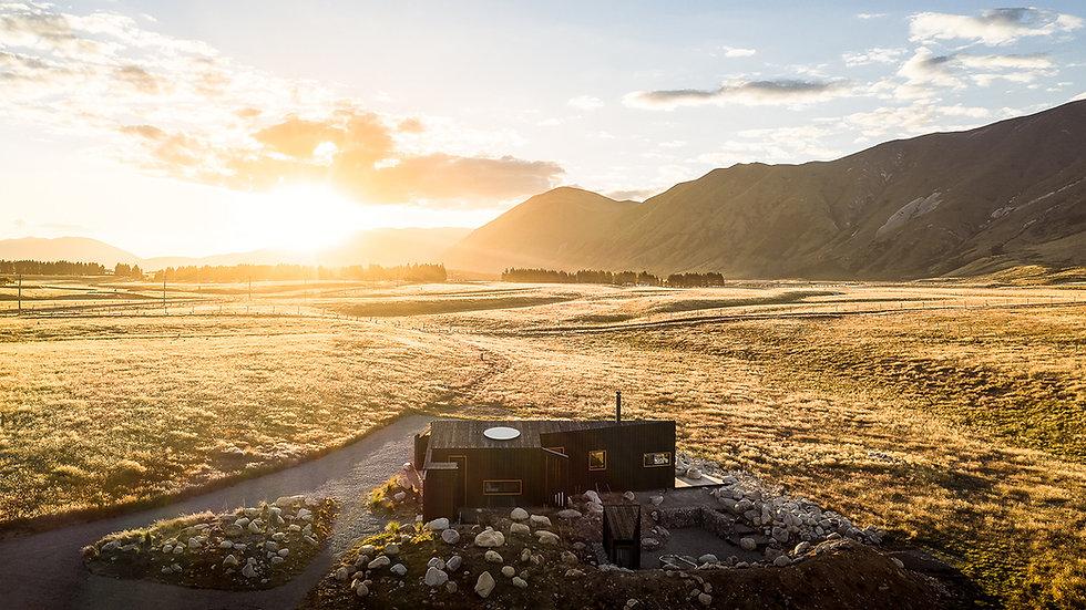 Aerial photo of Skylark Cabin luxury accommodation in Twizel NZ