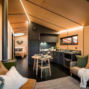 Interior of Skylark Cabin luxury accommodation in Twizel NZ