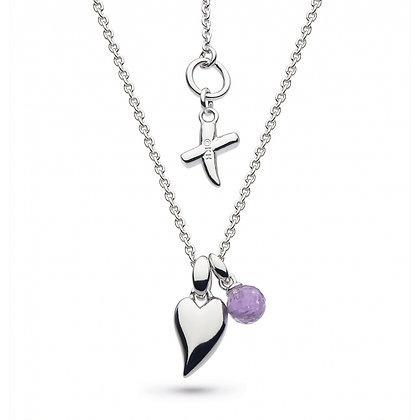 Desire Kiss Crush Mini Heart Amethyst Briolette Necklace