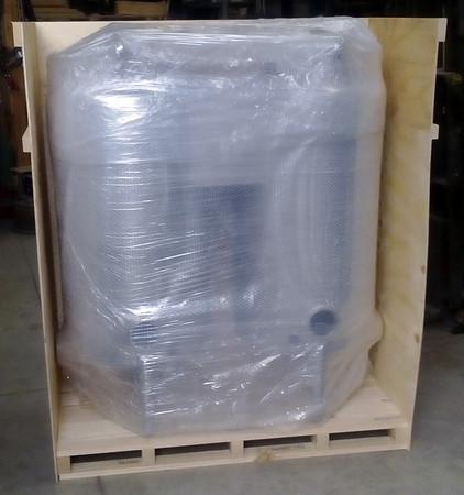 Machine fitting in crate.
