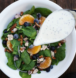 Erica's favorite salad. Baby spinach, blueberries, satsumas, pecans, Wensleydale blueberry cheese, r