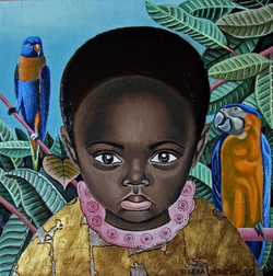 A Girl with Parrots