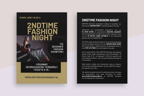 Flyer opmaak 2NDTIME Fashion night.
