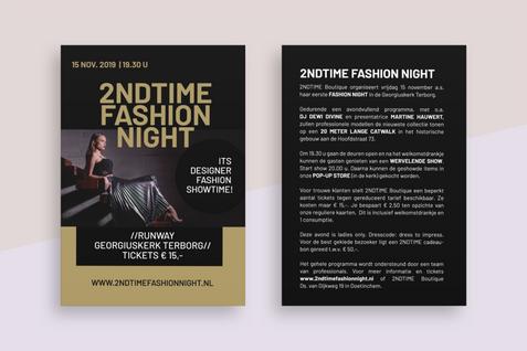 Flyer opmaak 2NDTIME Fashion night.