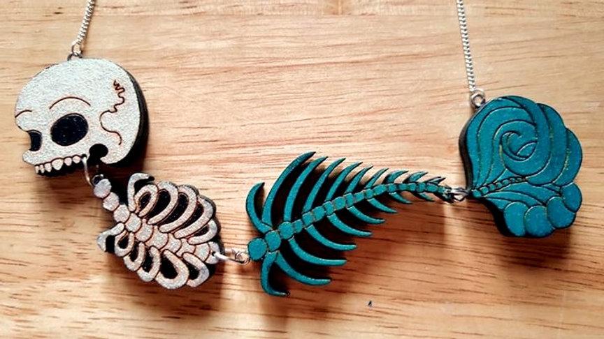 Green Mermaid Skeleton Necklace