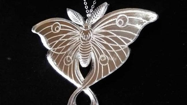 Mirrored Luna Moth Necklace