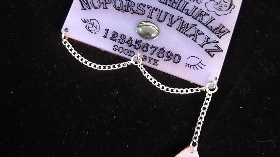 Iridescent Marbled Pearl Acrylic Ouija Board Necklace
