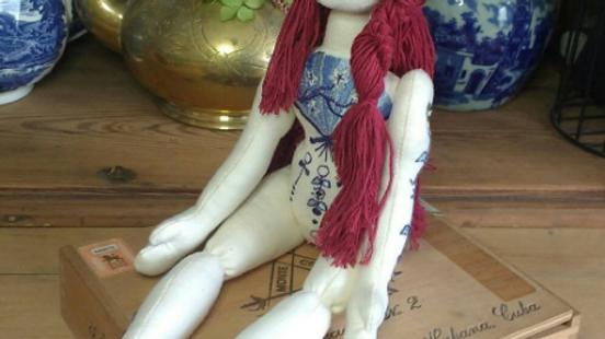 Brigid, blue and white china-pattern tattooed art doll